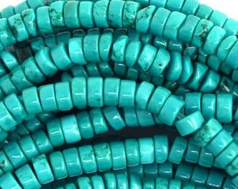 "4mm green turquoise heishi beads 15.5"" strand S2 36638"