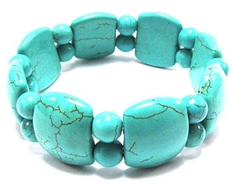"22mm blue turquoise stretch bracelet 8"" 31005"
