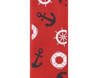 """SALE 1.5""""  Nautical Ribbon - 5yards, Anchor ribbon, Anchor ribbons, Nautical ribbon, Wired Anchor ribbon, wired ribbons #180141"""