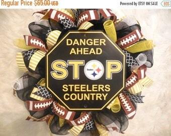 XMAS in JULY SALE-15%off Steelers Wreath, Pittsburgh Steelers Wreath, Steelers Decor, Pittsburgh steelers Decor, Pittsburgh steelers, Nfl Wr