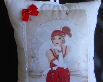 collection cushion deco hanging 17 X 17 theme the roaring twenties charleston rhinestone satin ribbon Pearl