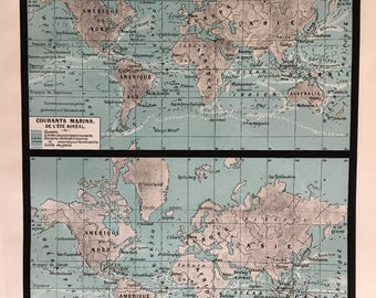 OCEAN CURRENTS.Old map. 1904's. Old print.Color. 12,2 ins  x 9,45 ins