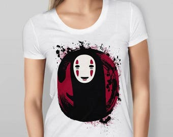 Womens Spirited Away No Face - Printed Cotton White T-shirt