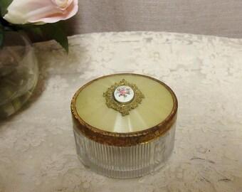 WOW!Vintage 1920s Enamel Dresser Jar; Vintage Powder Jar