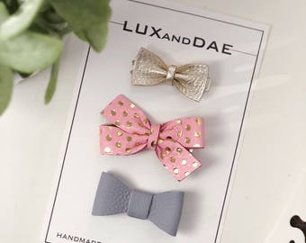 Mixed set, Leather Bow Headband, Newborn Headborn, Nylon Baby Headband, baby hair clip, gold bow, first birthday, leather bow
