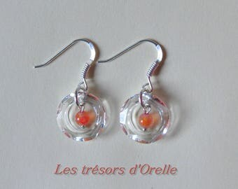 Earrings with swarovski crystal, silver and orange agate beads ring