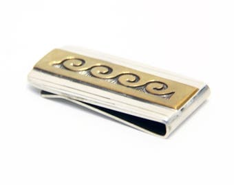 Overlay Waves Silver & Gold Money Clip