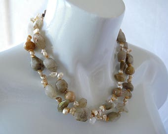 Rutilated quartz - yellow jade - pearl- necklace - GemChristina KW3920