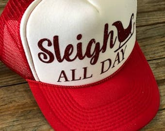 Sleigh All Day - Glitter Trucker Hat