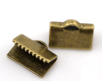 100 caps Ribbon clip, smooth, 10mm, antique bronze brass