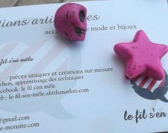 2 matching beads, 1 skull skull and 1 pink howlite star