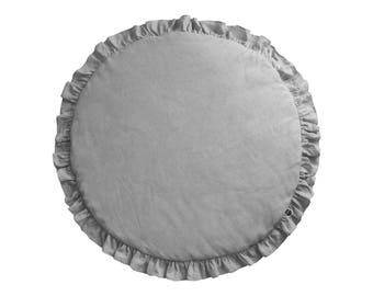 Gray Play Mat / Linen Baby Play Mat/ Round Play Mat / Play Mat with Frill / Boho Nursery Decor / Boho Play Mat / Baby Rug