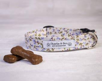 Dog collar - Floral dog collar - Puppy collar - Purple dog collar - girl dog collar - Boy dog collar - Puppy gift - Fabric dog collar