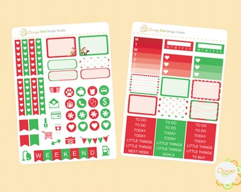 Christmas Weekly Kit, Christmas Mini Kit, Christmas Planner Stickers, Erin Condren Life Planner, Happy Planner, Filofax