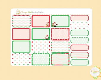 Christmas Half Box Stickers, Christmas Weekly Kit Half Boxes, Erin Condren Life Planner, Happy Planner, Mambi, Filofax