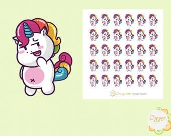 Bashful Unicorn, Shy Unicorn Stickers, Unicorn Planner Stickers, Erin Condren Life Planner, Happy Planner, Filofax