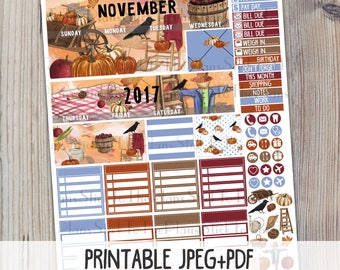 November Monthly printable planner stickers for your Erin Condren LifePlannerTM watercolor cozy fall scarecrow pumpkin rustic sticker kit