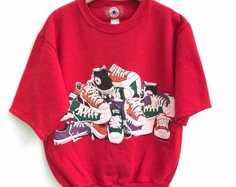 Vintage Converse Sweatshirt Converse 1992 Shortsleeve All Star Sweater Spell Out Converse Casual Made in Usa Swag Hip Hop