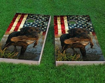 SALE - Duck Hunting Lab With Patriotic Cornhole Set, Birthday, Tailgate, Bachelor Party Gift for Men, Husband, Boyfriend, Father, Son