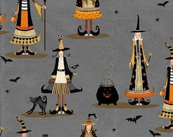 Studio E - Witchy. Grey with witches and bats **Half Yard Cuts**