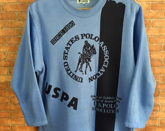 Vintage Us Polo Big Logo Sweatshirt Pullover Jumper Blue L