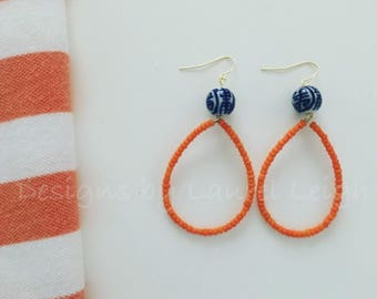 ORANGE Hoop Earrings | blue and white, Chinoiserie, hoops, gold, ginger jar, lightweight, dainty, team colors, game day, Auburn, Florida, UF