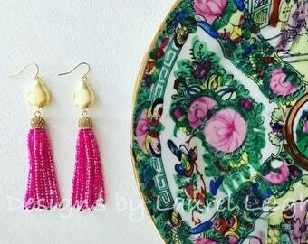 HOT PINK and GOLD Tassel Earrings | beaded, dressy, teardrop, statement earrings