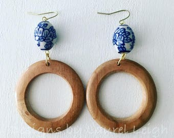 Chinoiserie Earrings | natural, neutral, blue and white, gold, dangle, wood, lightweight, Designs by Laurel Leigh