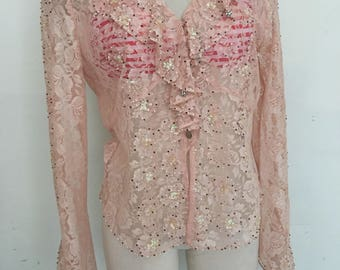 Karen Millen elegant blouse from real lace soft&tender lace stylish blouse modern fashionable blouse vintage light pink women's size-medium.