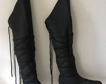 Burningman style black long strong leather man boots size 11 1/2 US