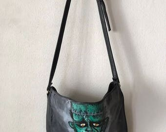 Halloween style black designer bag real leather soft leather bag has unique printed picture-zombie chic handmade bag new has size-medium.