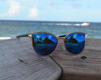 Swarovski Crystal Sunglasses 400 UV Blue Cat-Eye