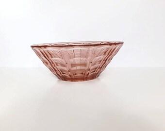 Vintage Pink Glass Bowl, Fruit Bowl, Pressed Glass Bowl