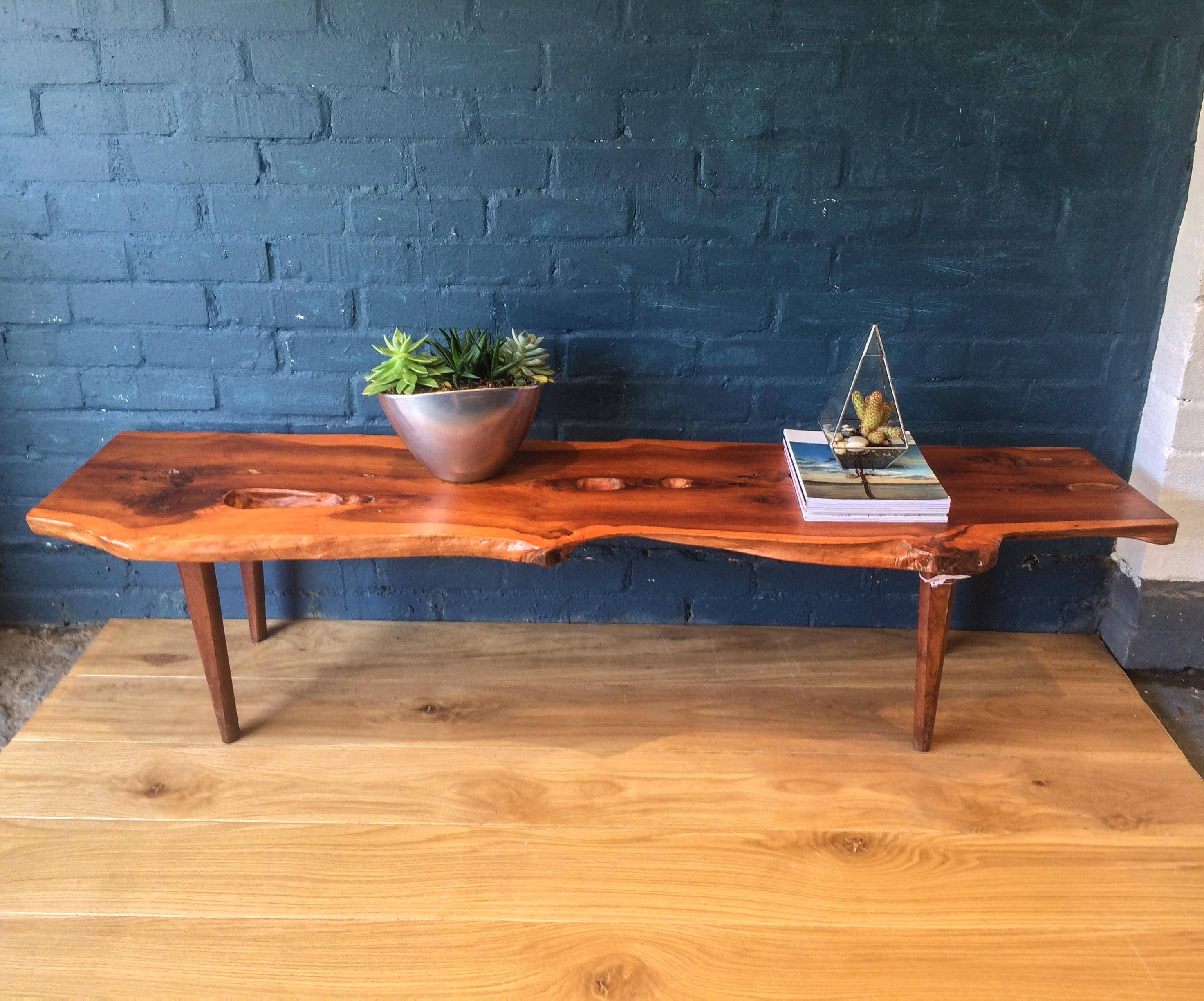 rustic yew coffee table bench in the arts and crafts style