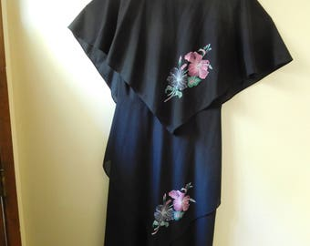 Black Layered Dress with Flower Design by Gilberti in Size 14