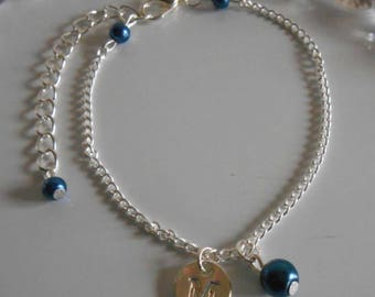 Dark blue personalized silver initial bracelet