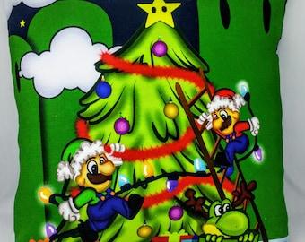 Mario Bros Christmas Pillow Cover - 12x12 - Super Mario - Mario - Luigi - Yoshi - OOAK - Ready to Ship