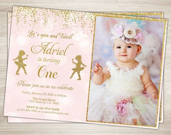 Tutu Birthday Invitation Girl 1st birthday Pink and Gold Tutu invitation, Ballerina First Birthday Invitation, Ballerina Invite, Tutu cute