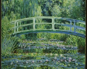 Water Lilies and Japanese Bridge by Claude Monet - Poster A3 or A4 Matt, Glossy or Art Canvas Paper