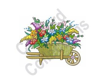 Wheelbarrow Of Flowers - Machine Embroidery Design