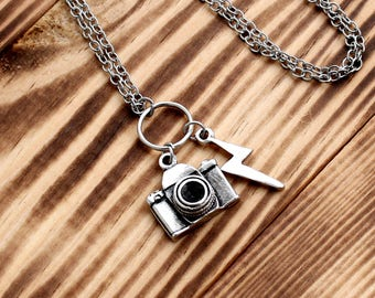 Photographer necklace, photographer gift, photographer jewelry, Silver Plated Necklace, ethnic necklace, silver necklaces, Minimal Gift