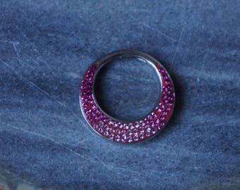Silver, 925, circle pendant with pink Rhinestones