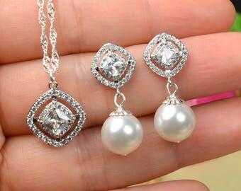 Bridal Jewelry set Pearl  Crystal Wedding Jewelry pearl Bracelet  Bridal Earrings silver statement  Jewelry SET