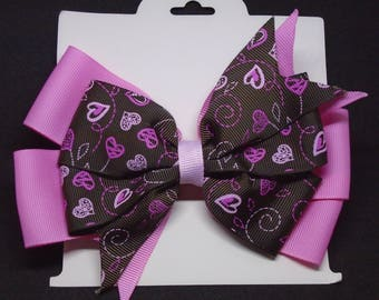 "6"" Pink and Brown Bow with Hearts"
