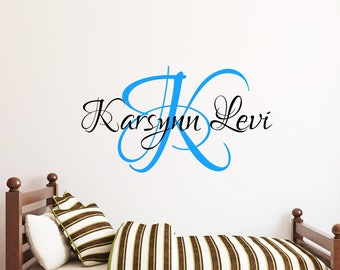 Initial and Name Decal-Name Vinyl-Personalized Name Decal-Custom Wall Decal-Nursery decor-Name Wall Decal-Personalized Wall Decal-N401