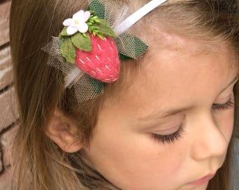 Strawberry Fields // Baby Girl Nylon Headband // kikiandbee