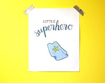 """Nursery Wall Art - Little Superhero - 8""""x10"""" - PDF instant download"""