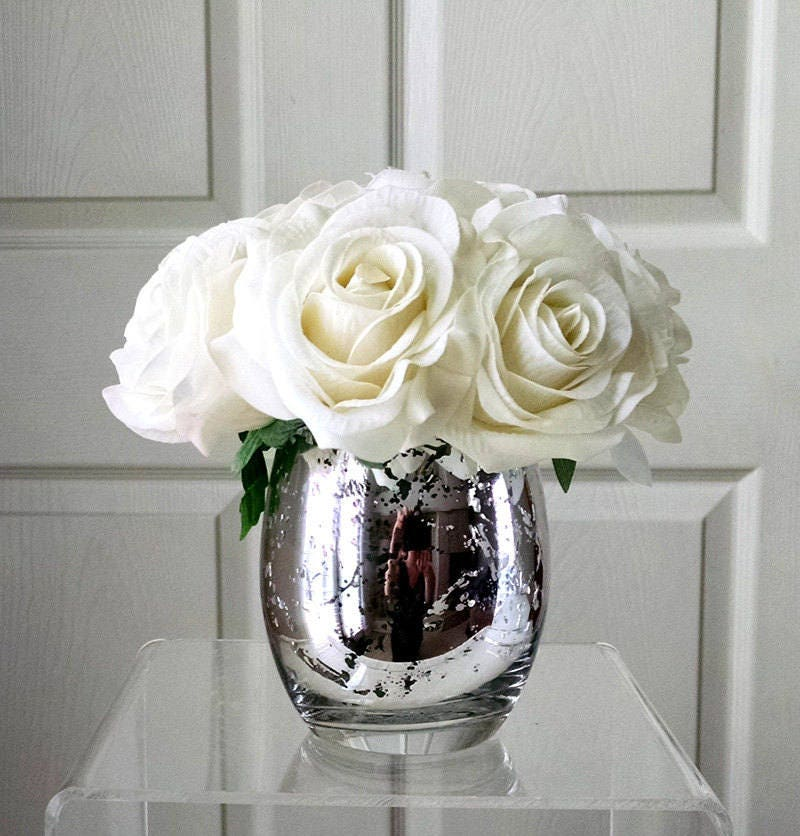 Real Touch flowers for Home decorations-Christmas Gift-Real Touch Roses-Silk Flowers in Home Decor-Fake flowers-White Roses-Christmas Decor