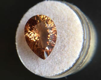 NATURAL 7.42ct Loose Champagne Cognac Topaz Pear Concave Cut TOP GRADE Gem