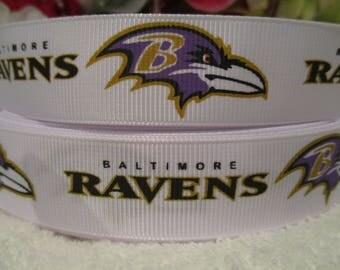 "3 Yards of 7/8"" Inspired by Baltimore Ravens Grosgrain Printed Ribbon"